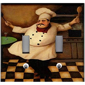Fat Chef Bon Appetit Home Decor Light Switch Cover Plate 3x Toggle