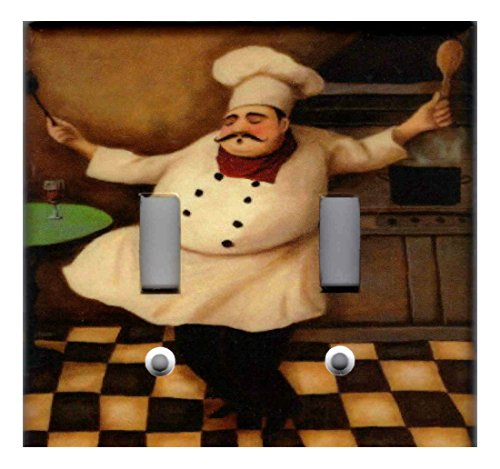 FAT CHEF KITCHEN HOME DECOR LIGHT SWITCH PLATES AND OUTLETS- Double