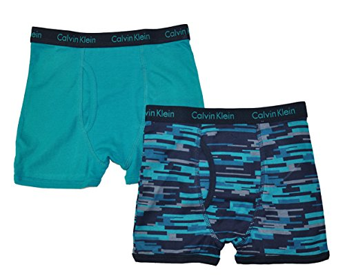 Calvin Klein Little/Big Boys' Assorted Boxer Briefs (Pack Of 2) (Teal/Blue Gray, Medium/8-10) ()