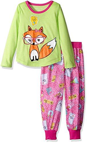Komar Kids Girls' Big Girls' Smarty Fox 2pc Sleepwear Set, Pink, Xl