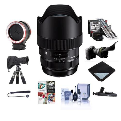 Sigma 14-24mm f/2.8 DG HSM ART Wide-Angle Zoom Lens for Canon EOS Cameras - Bundle With LensCoat RainCoat Rain Sleeve Black, LensAlign MkII Focus Calibration, Peak Lens Changing Kit Adapter, And More