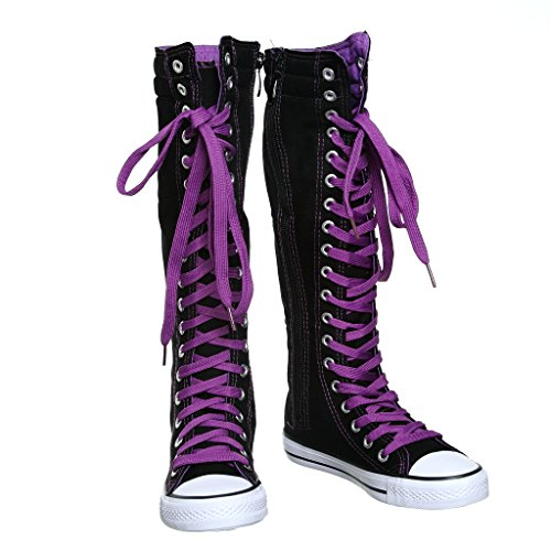 dbbb6bdb0cde89 Canvas Sneakers Ladies Flat Tall Punk Womens Skate Shoes Lace up Knee High  Boots - Buy Online in Oman.