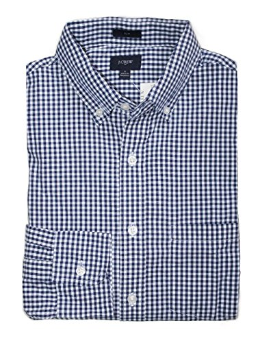 J Crew Factory - Men's Slim Fit - Gingham Washed Cotton Shirt (Navy Micro-Gingham, Large) from J.Crew