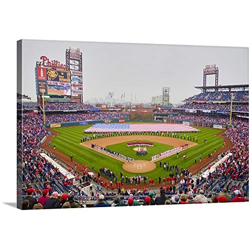 (Panoramic Images Solid-Faced Canvas Print Wall Art Print Entitled Opening Day Ceremony Featuring Large American Flag in Centerfield, Citizen Bank Park 48