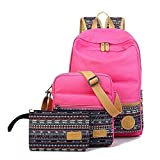 SymbolLife Casual Style Lightweight Canvas Laptop Bag/ Shoulder Bag/ Bookbag/ School Backpack with Cross-body Bag and Purse/Pen Bag with Embroidery Design, Rose