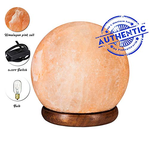 Himalayan Real Rock Salt Lamp - Genuine Wood Base with On and Off Switch/Dimmer - 5-7 Lbs Bulb with 6-8 Inches UL Electric Corded (Globe) (Salt Lamp Round)