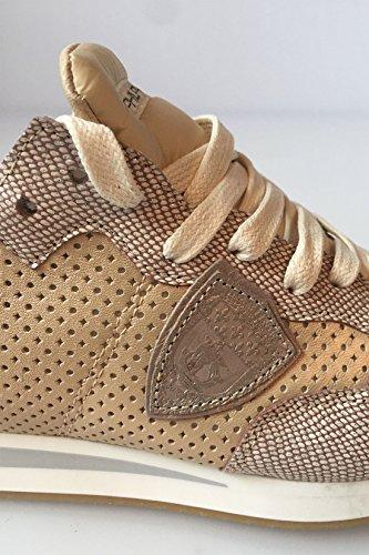 Philippe Model Damen Sneaker low Tropez Vip aus Leder und Textil in Gold / Glitzer