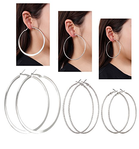 3 Pair Silver Metal (VUJANTIRY Multiple Hoop Earring Set Flat Hoop Earring Textured Silver or Gold Tone Rounded Hoop Earrings 3 Pairs (Silver))