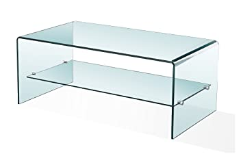 Luna Curved Clear Glass Coffee Table, TV Stand Unit With Shelf, Side Living  Room