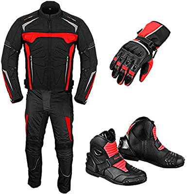 Traje de moto con guantes de motocicleta, botas de ...