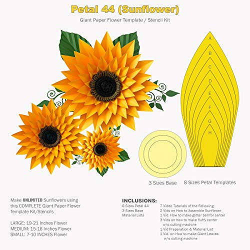Petal 44 Sunflower Complete Giant Paper Flower Template/Stencil Kit
