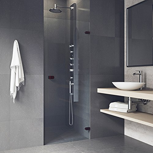 VIGO Tempo 28 to 28.5-in. Adjustable Frameless Shower Door with .3125-in. Clear Glass and Oil Rubbed Bronze Hardware
