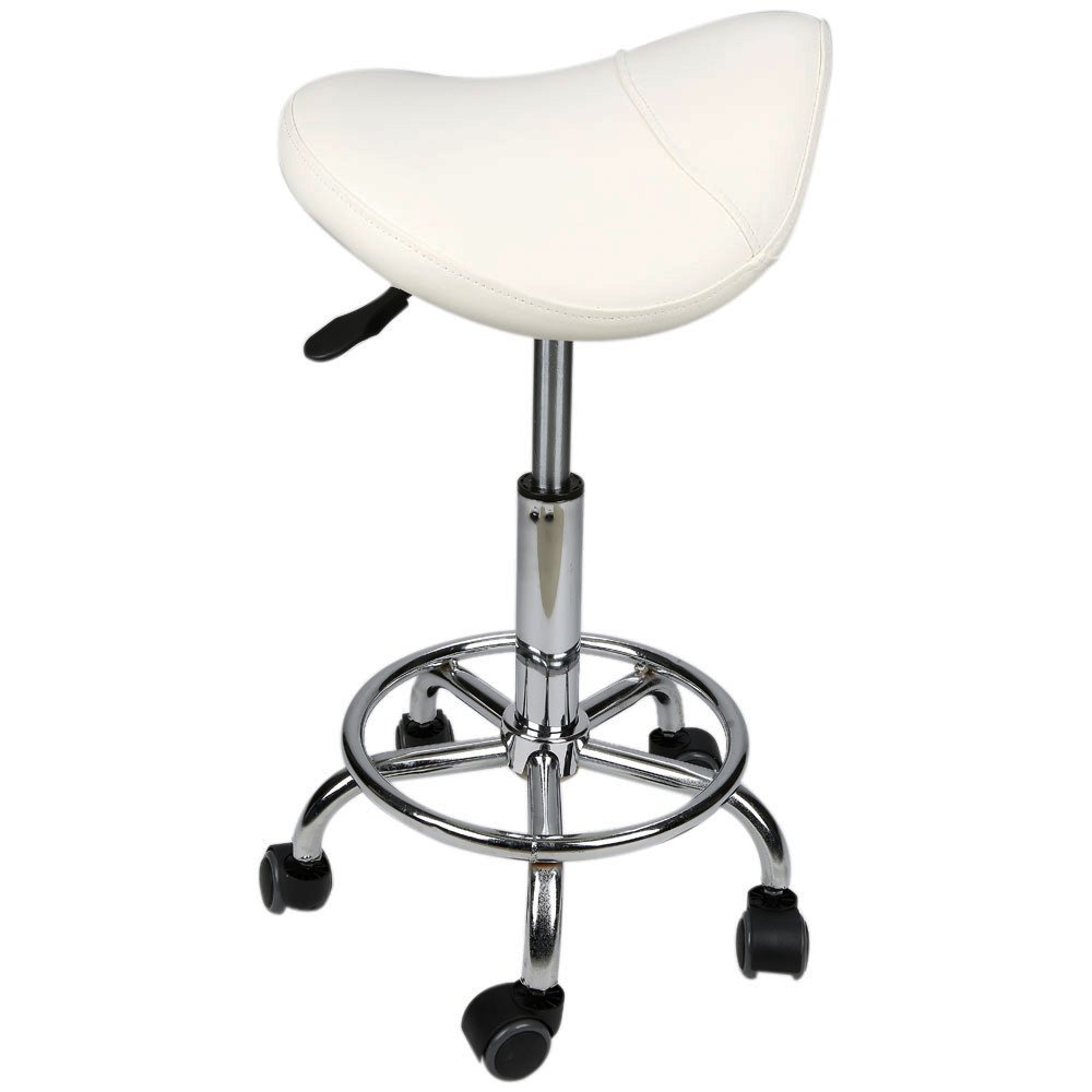 Adjustable Salon Spa Stool Saddle Chair Barber Stool (White) by QJR (Image #2)