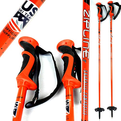 Zipline Ski Poles Carbon Composite Graphite Blurr 16.0 U.S. Ski Team Official Ski Pole (Downhill/Mens/Womens/Kids/Junior/Freestyle/Racing) (Salmon Red, 40