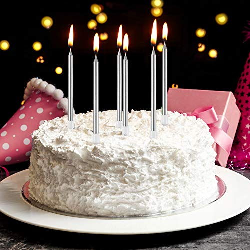 24 Pieces Birthday Candles Metallic Cake In Holders Long Thin