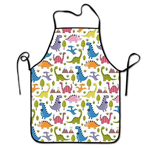 (Kids Apron Cute Cartoon Style Colorful Lovely Dinosaurs T Rex Triceratops Prehistoric Reptile Wildlife Apron Baking Multicolor)