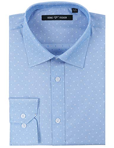 (Verno Fashion Men's Printed Slim Fit Long Sleeve Dress Shirt-Available in More Colors (Blue and White Pocky Dot, 16-16 1/2-32/33))