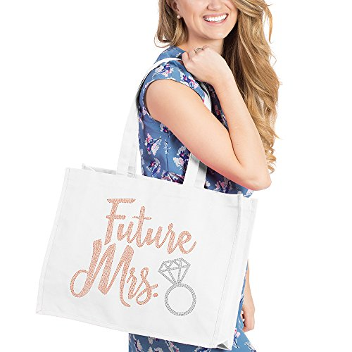 Future Mrs. Diamond Rose Gold Tote Bag - Bridal Shower Gift & Accessories Bride Tote - White Tote(DFutMrs RsGld) Wht