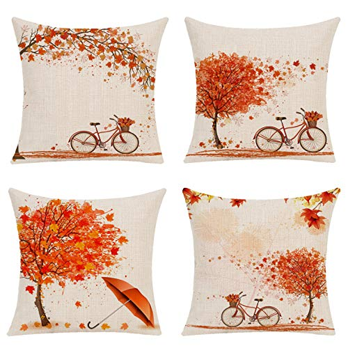 Gysan Pack of 4 Decorative Autumn Fall Throw Pillow Cover Maple Leaf Bicyle Cushion Case Outdoor Pillow Case for Car Sofa Bed Couch (Maple Bicyle Autumn, 18