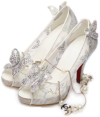 Littleboutique Lace Wedding Pumps Crystal Stud Bridal High Heels Rhinestone Evening Party Dress Heel Pump White 9