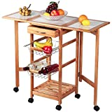 Bling Bling Portable Rolling Drop Leaf Kitchen Island Cart White Tile Top Folding Trolley Table with 1 Wood Drawer and 2 Steel Baskets