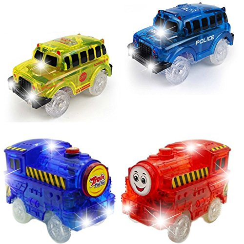 [4-Pack] Car Track Replacement Race Cars + Trains Toy | Glow in the Dark Racing Track | w/5 LED Lights | INDEPENDENT & TRACK PLAY| Track Accessories Compatible with Most Tracks | Fun for Boys & Girls
