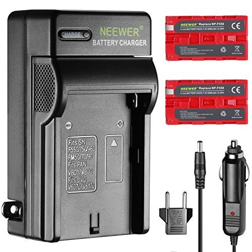 Neewer 2-Pack 2600mAh Rechargeable Li-ion Battery Sony NP-F550 Replacement and AC Wall Charger for Sony HandyCams Neewer CN-160 CN-216 LED Light,Monitor and others Use NP-F550/970 Batteries