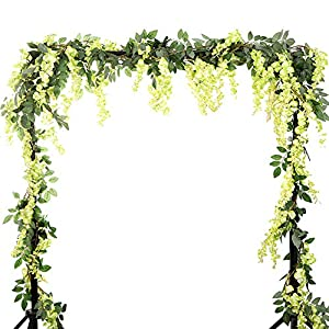 HOMDECO 5.6 Feet/pcs Artificial Silk Wisteria Vine Rattan Silk Hanging Flower Garland Ivy Plants for Outdoor Wedding Party Home Garden Wall Decoration,Pack of 4 20