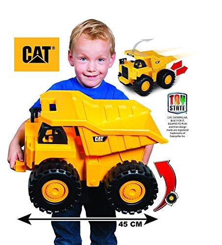 Caterpillar ( CAT) - Wheels Sound Construction Machines - Push Power Big Rev-Up Dump Truck - with 2 Construction Crew Figures -Free Gift