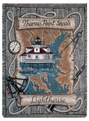 Maryland Lighthouse (Thomas Point Shoals Lighthouse Maryland Mid-Size Deluxe Tapestry Throw Blanket USA)