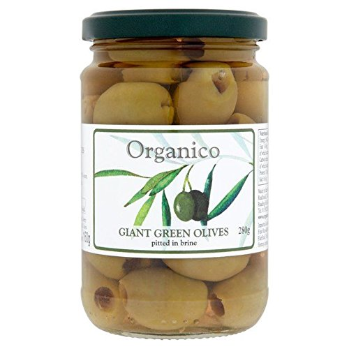 Organico Organic Pitted Green Olives in Brine & Herbs - 280g