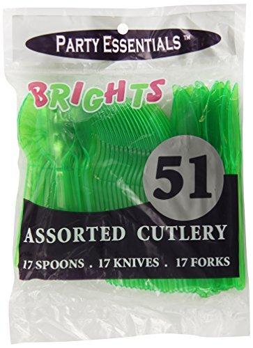 Party essentials tarro de cubertería de plástico duro Combo Pack disponible en 5 colores neón, verde neón, 17 ajustes de lugar por el noroeste de empresas: ...