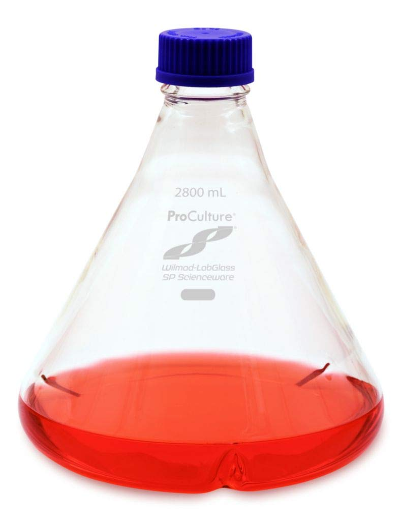 Wilmad-LabGlass Proculture Fernbach Shaker Flasks Side Baffles GL45 Screw Cap Closure 2800 mL