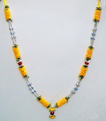 Yellow Colored Satin Ribbon Floral Hindu Deity Garland Motifs God Mala Haar India Ethnic by India Crafts