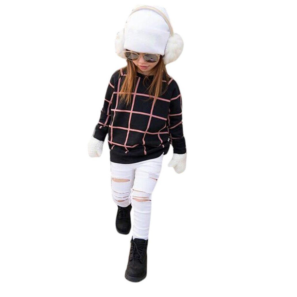For 2-7 Years old Girls,Clode® Toddler Kids Girls Outfit Clothes Warm Plaid Sweater Tops and Jean Long Pants Spring Autumn Winter Clothes Set Clode-T77893