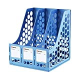 COMIX 3 Compartments Desktop File Book Magazine Sorter Holder Organizer Blue