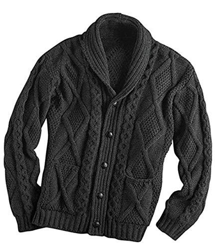 Aran Crafts Shawl Collar Grandfather Cardigan Charcoal