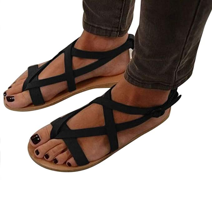 Amazon.com: Sharemen Womens Strappy Sandals Gladiator Thong Ankle Strap Summer Beach Flat Sandals: Clothing