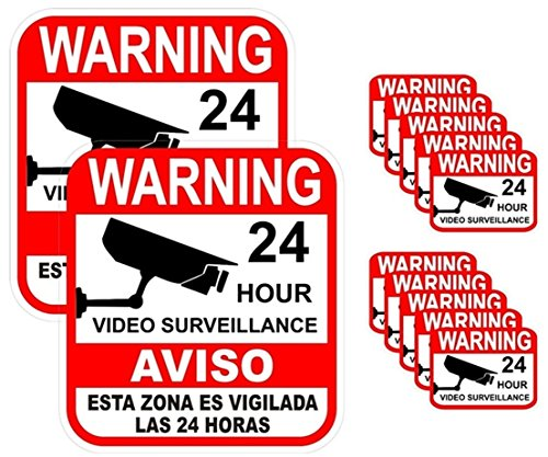 12-Pcs Premium Popular Warning Sticker Decal Signs 24Hr Business Alarm Surveillance Window Reflective 2-Large - Premium Arizona Outlets