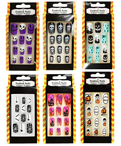 Set of 6 Halloween Fashion Fake Nail Sets! 72 Total Pieces! 6 Different Themes! 12 Different Sizes! Faux Reusable Nails Perfect for any Costume, Halloween Party, or Regular Use! (6)