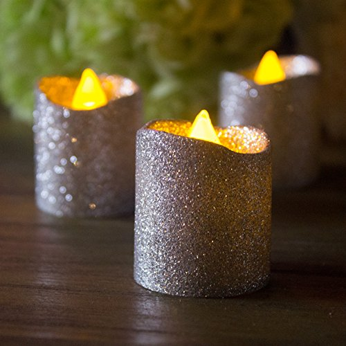 LOGUIDE Silver Glitter Votive Flameless Candles Flickering Unscented Realistic Tealights Decorations - Wedding Outdoor Restaurant Party Home