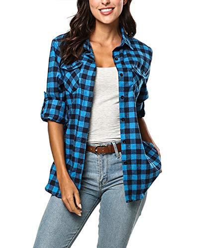 (KENANCY Women's Long Sleeve Boyfriend Plaid Flannel Button Down Shirt Tops Blue)