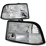 For 98-04 GMC Sonoma/Jimmy/Oldsmobile Bravada Chrome Housing Clear Lens Headlights/Lamps - Pair