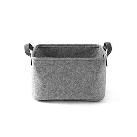 Felt Storage Basket Box Bag with Handle Strap Laundry Hamper Foldable Basket and Bin for Baby Nursery Toy Kids Bedroom Office Book Closet and Toy Organizer S