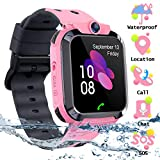SZBXD Kids Waterproof Smart Watch Phone, LBS/GPS Tracker Touchscreen Smartwatch Games SOS Alarm Clock Camera Smart Watch Christmas Birthday Gifts for School Boy Girls (Pink)