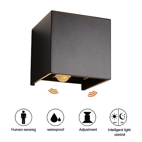 Ralbay 7W LED Apliques de Pared Interior/exterior, Lamparas con sensor de movimiento,