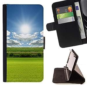 BullDog Case - FOR/Apple Iphone 6 / - / Nature Field Sun /- Monedero de cuero de la PU Llevar cubierta de la caja con el ID Credit Card Slots Flip funda de cuer