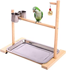 QBLEEV Bird Playground,Birdcage Play Stands,Parrot Perch Playstand Tabletop Play Gyms with Feeder Cup Bowl Tray for Small Medium Conure Cockatiel Parakeet Finch Macaw