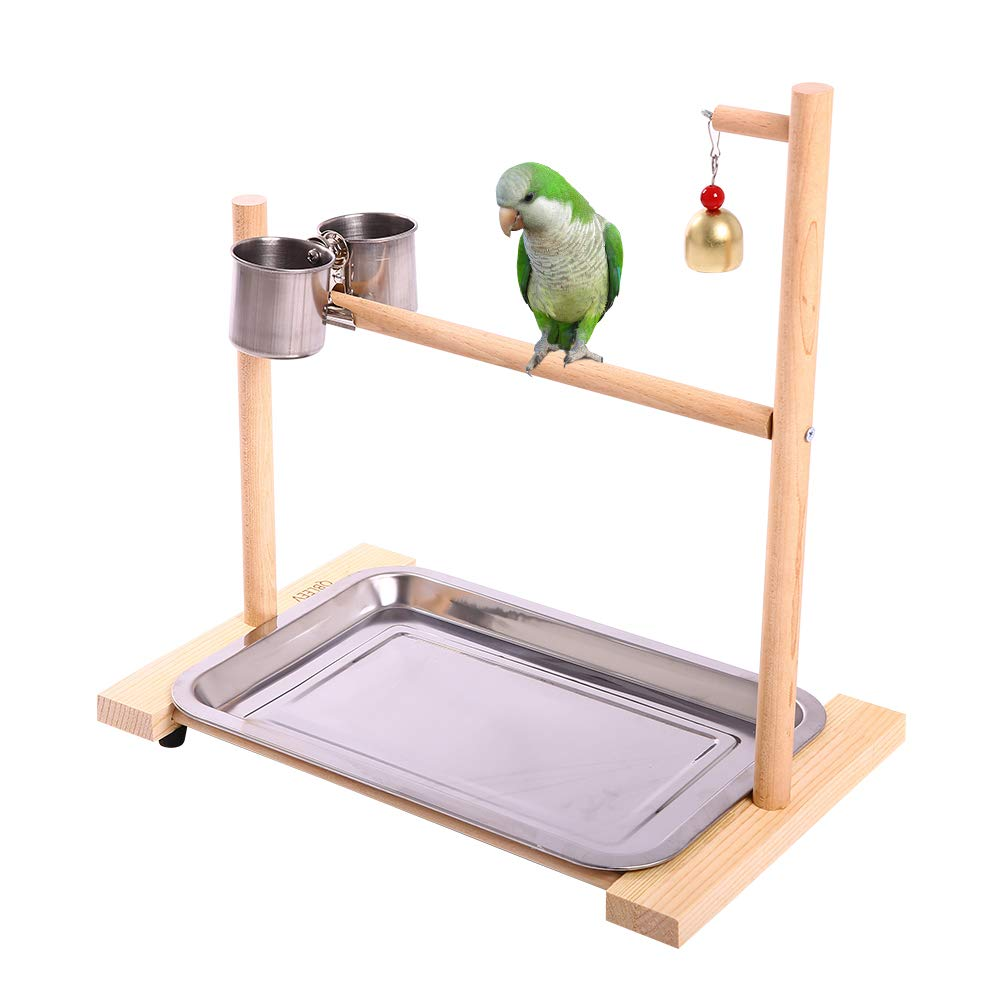 QBLEEV Bird Playground,Birdcage Play Stands,Parrot Perch Playstand Tabletop Play Gyms with Feeder Cup Bowl Tray for Small Medium Conure Cockatiel Parakeet Finch Macaw by QBLEEV