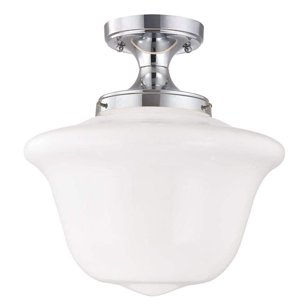 14-Inch Wide Chrome Finish Schoolhouse Ceiling Light